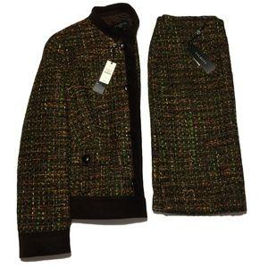 Talbots 2 Piece Brown Green Woven Suit Sz 4P $308